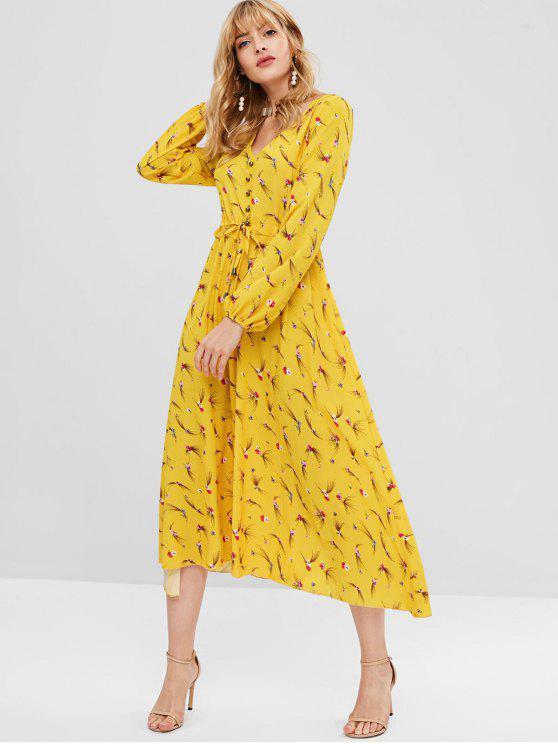فستان ماكسي مزين بالزهور - أصفر فاقع S