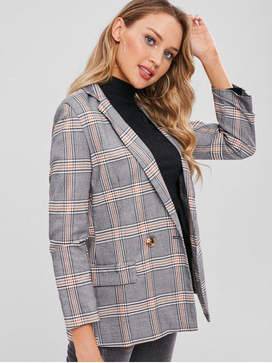fashion Flap Pockets Checked Double Breasted Blazer - MULTI M