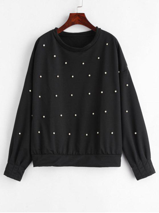 Sweat-shirt à Goutte Epaule avec Fausse Perle - Noir S
