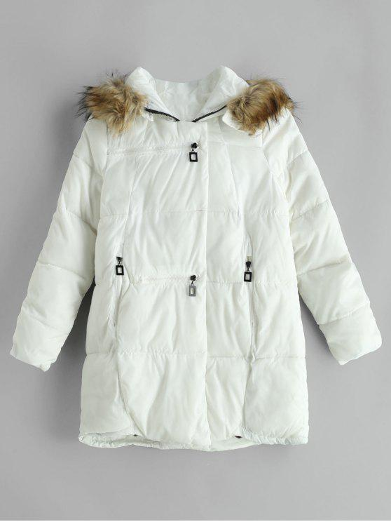 womens Zipped Quilted Puffer Winter Coat - WHITE XS