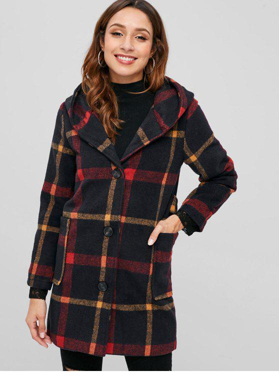 chic Pom Pom Hood Checked Faux Wool Coat - RED L