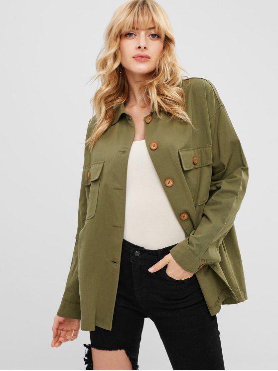 الجبهة جيب قميص سترة - السرخس الأخضر حجم واحد