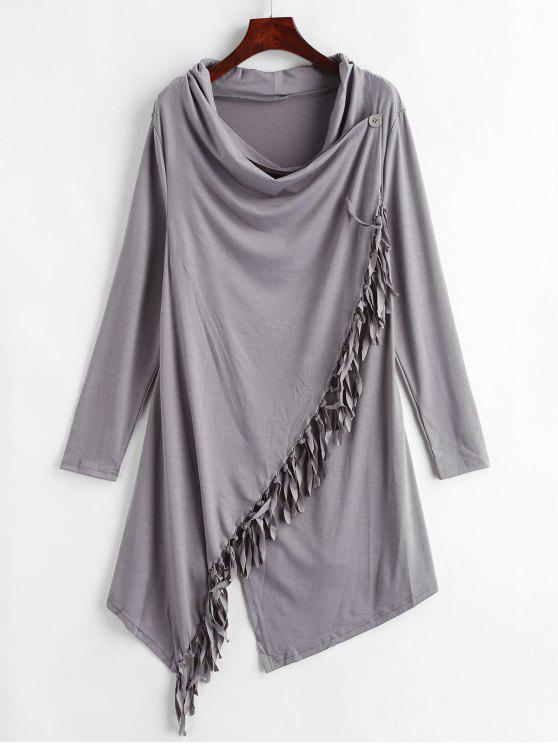hot Cowl Neck Tassels Tunic Top - CARBON GRAY L