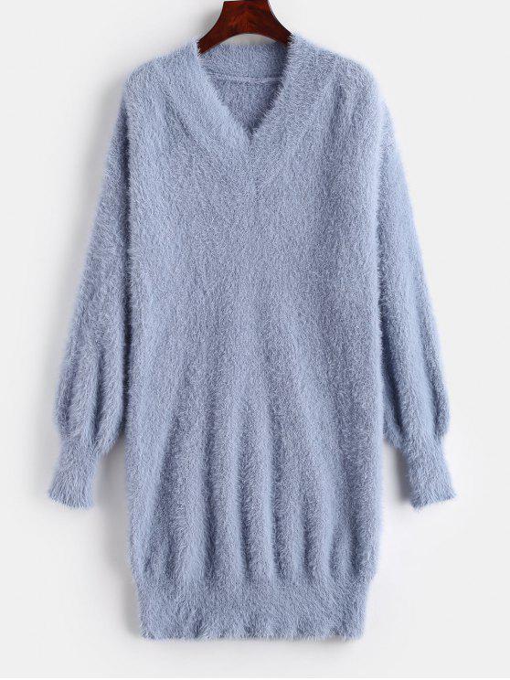 Mini vestido de camisola fuzzy pescoço v - Ardósia Azul   Tamanho único