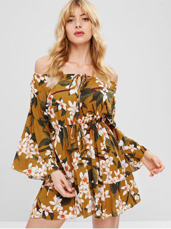best Flare Sleeve Floral Short Dress - MULTI L