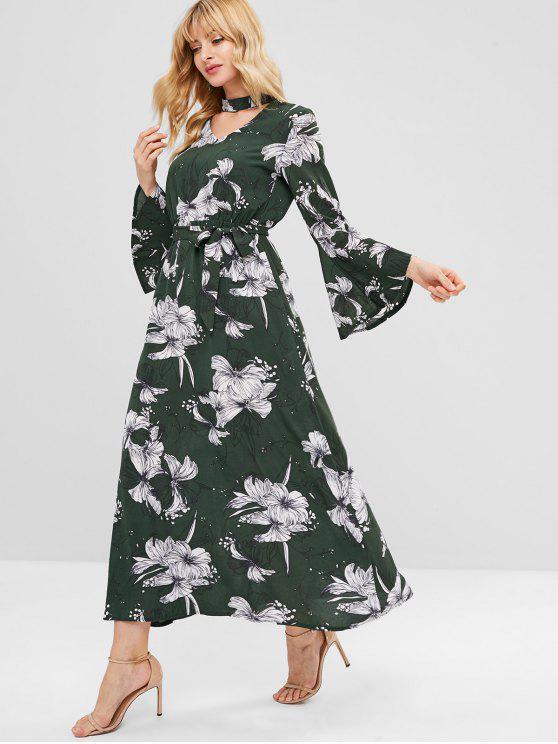 online Floral Choker Flare Sleeve Maxi Dress - HAZEL GREEN S