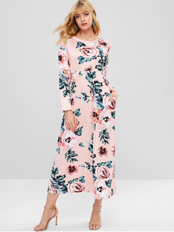 Robe Fleur Imprimée à Manches Longues - Rose  M