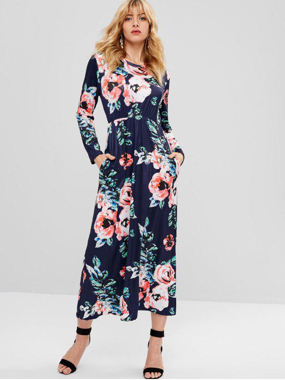 زهرة طباعة فستان طويل الأكمام - ازرق غامق L