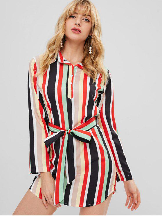 best Colorful Stripe Shirt Dress - MULTI M