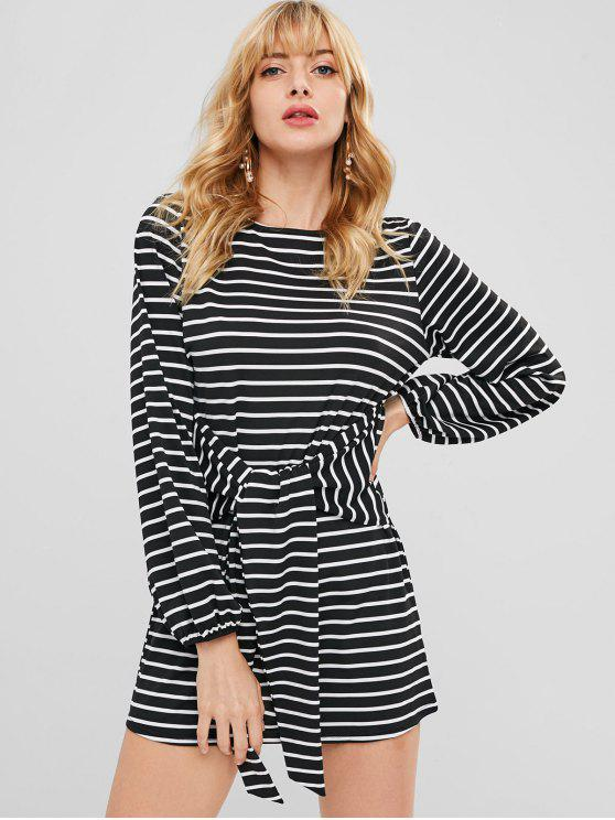 trendy Long Sleeve Striped Tee Dress - BLACK M