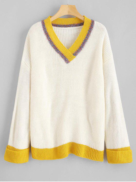 outfits Shiny Thread Color Block V Neck Sweater - WHITE ONE SIZE