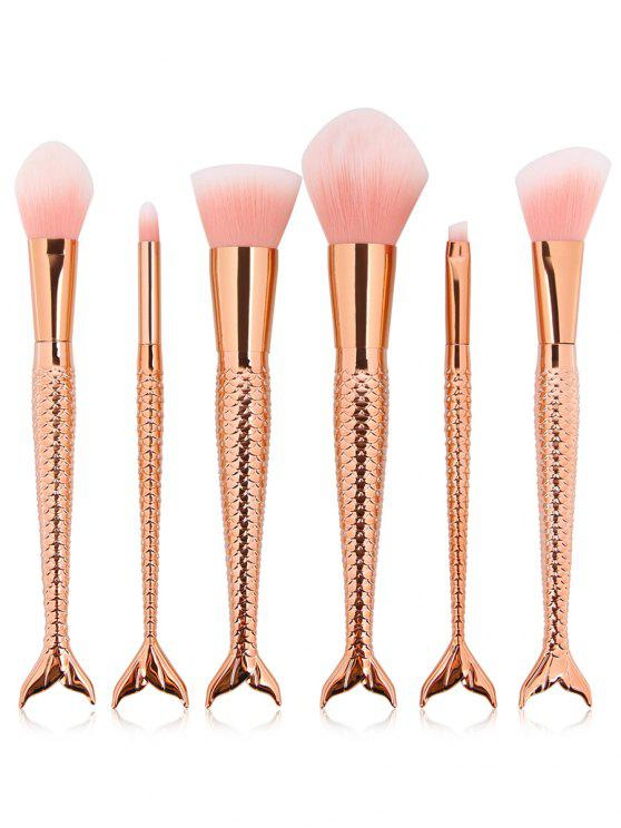 fancy 6Pcs Mermaid Shaped Handles Ultra Soft Travel Makeup Brush Suit - MULTI-E