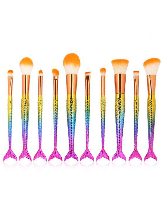 outfits 10Pcs Mermaid Shaped Handles Synthetic Fiber Hair Makeup Brush Suit - MULTI-C