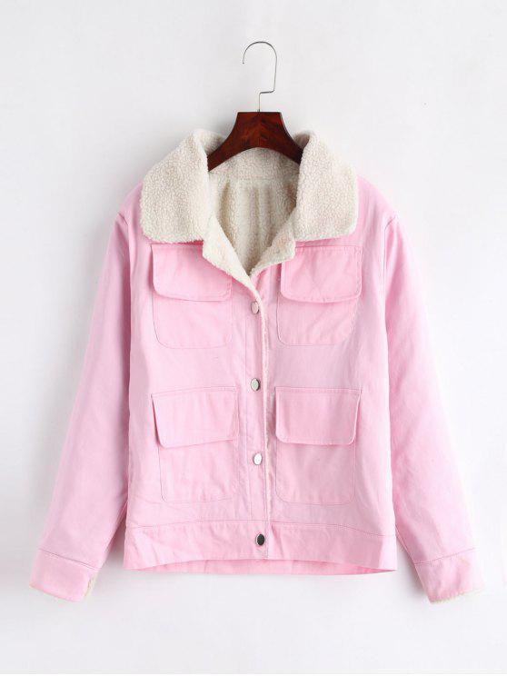trendy Single Breasted Pocket Boxy Jacket - PINK 2XL