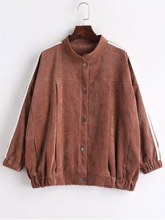 fashion Contrast Stripe Corduroy Jacket - CHESTNUT L
