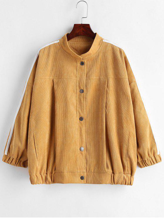lady Contrast Stripe Corduroy Jacket - MUSTARD M