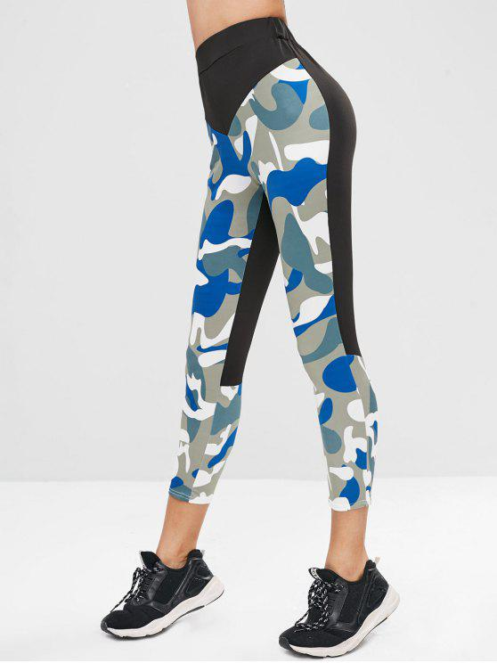 unique Elastic Waist Splicing Camouflage Leggings - MULTI XL