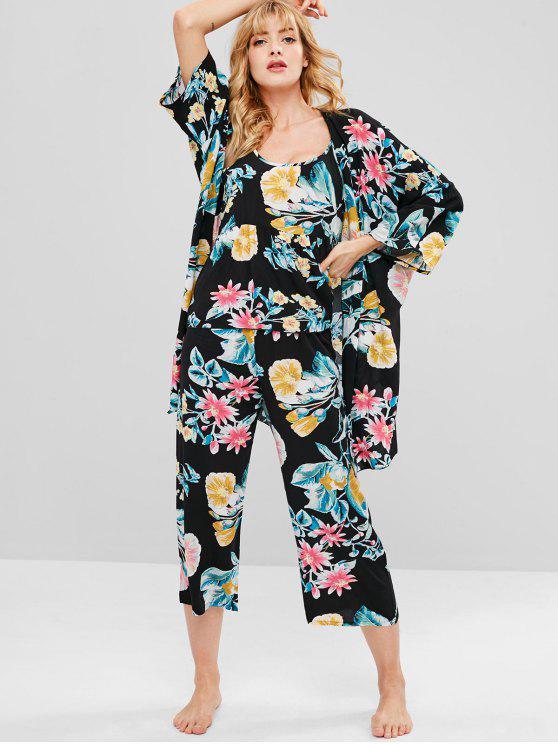 buy Bohemian Flowy Patterned Pants Set - BLACK L