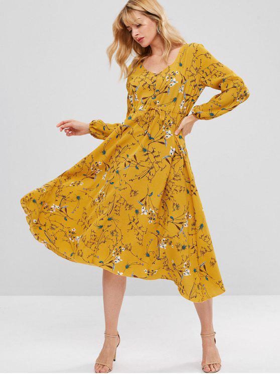 فستان ميدي مزين بزهور - بني ذهبي M