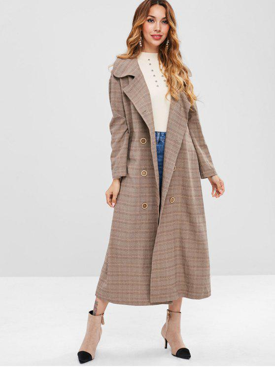 online ZAFUL Back Slit Extra Long Plaid Coat - LIGHT KHAKI S