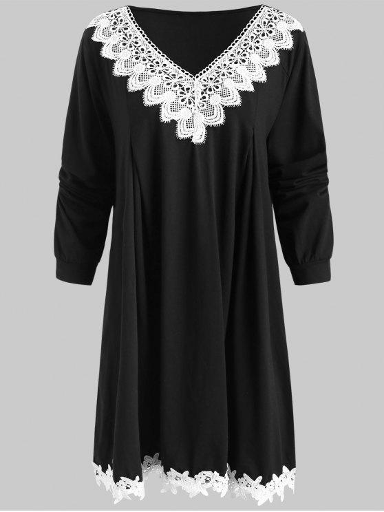 hot Crocheted Trim Plus Szie Tunic Dress - BLACK 1X