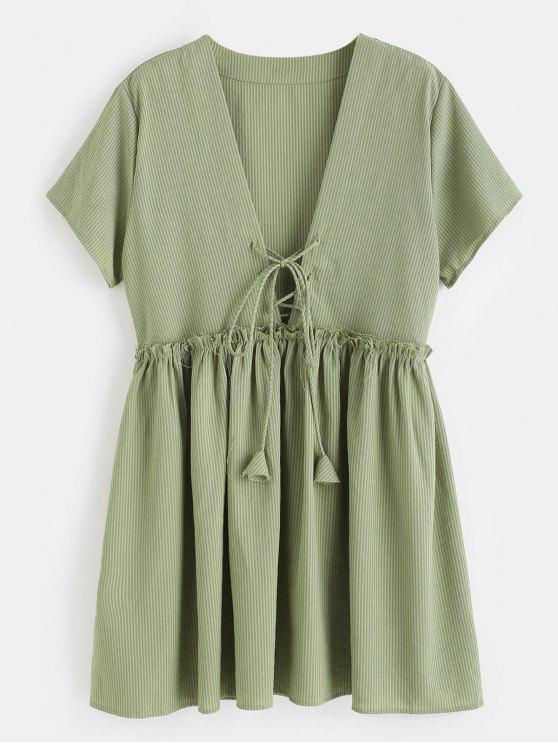 new Lace-up Striped Smock Dress - CAMOUFLAGE GREEN M