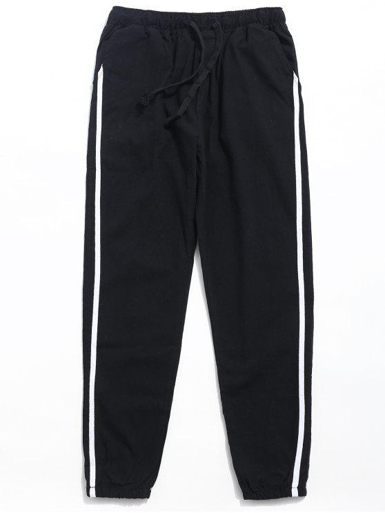 sale Drawstring Side Stripe Casual Pants - BLACK L