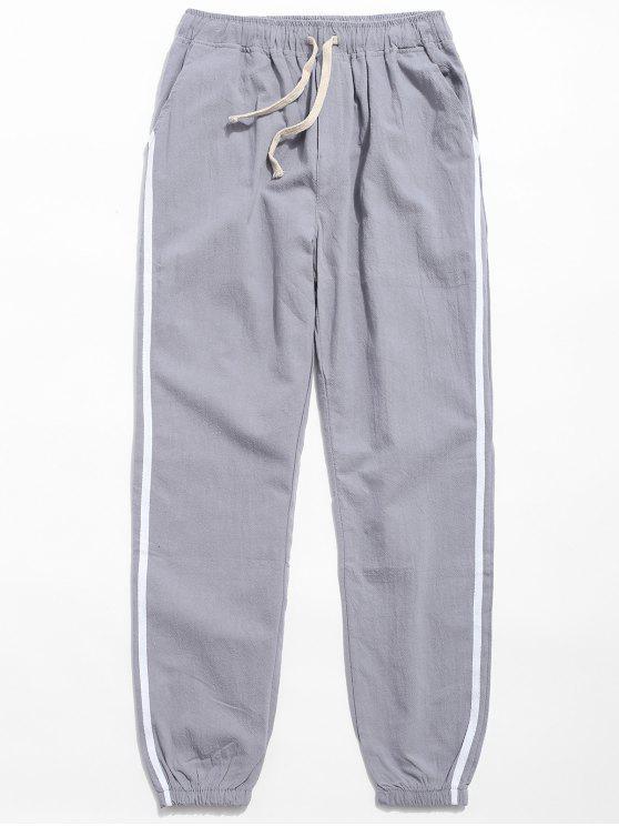 ladies Drawstring Side Stripe Casual Pants - LIGHT GRAY L