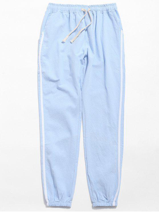 online Drawstring Side Stripe Casual Pants - AZURE L