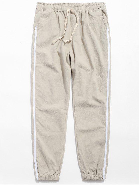 outfit Drawstring Side Stripe Casual Pants - KHAKI L