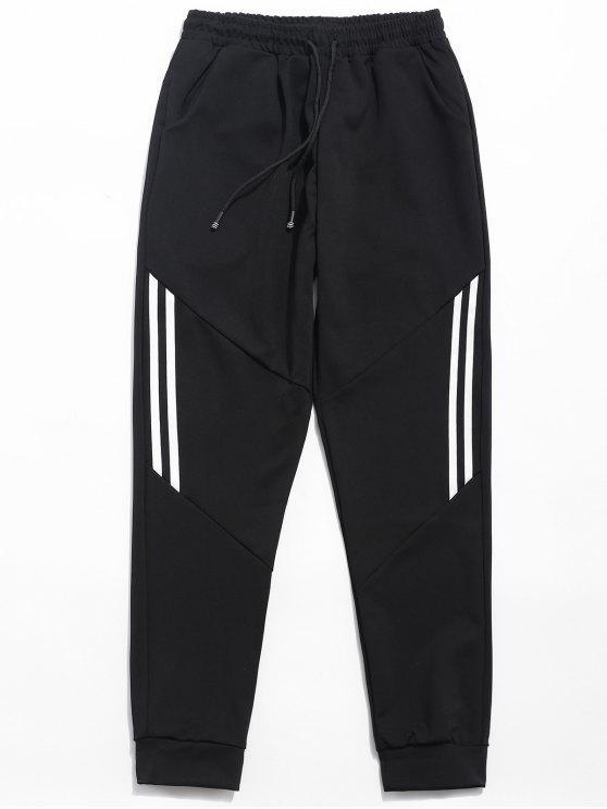 fancy Drawstring Striped Print Casual Pants - BLACK L