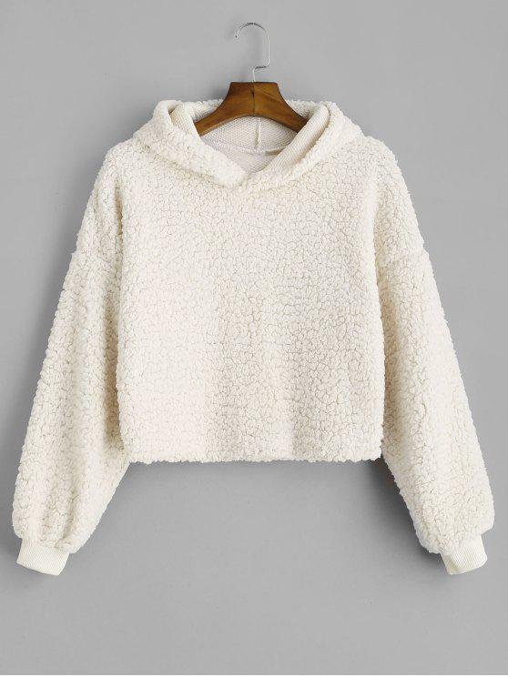sale Drop Shoulder Fluffy Boxy Hoodie - WARM WHITE S
