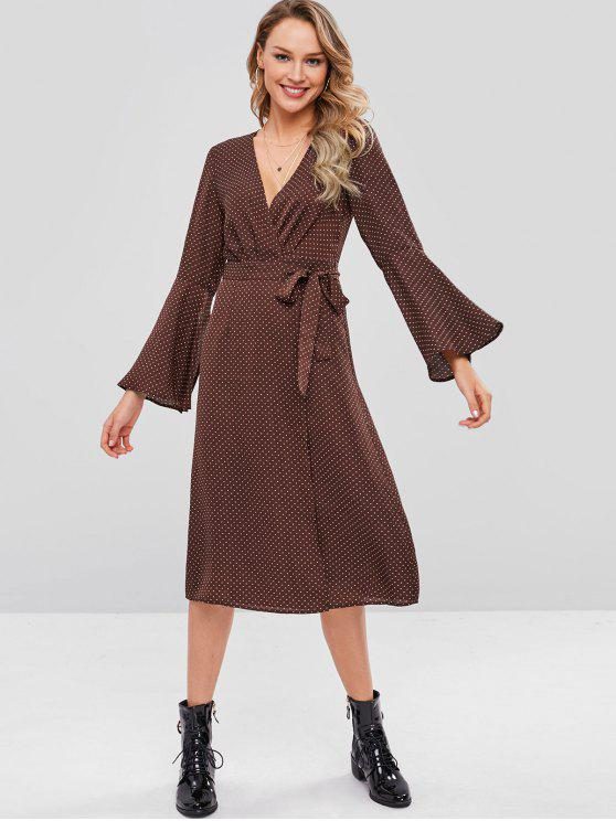 outfits ZAFUL Polka Dot Flare Sleeve Wrap Dress - DEEP COFFEE M