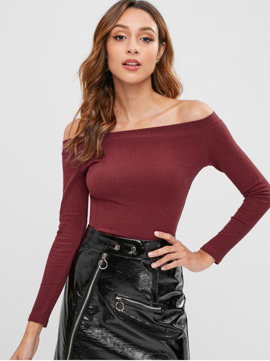 lady Knitted Off Shoulder Crop Tee - RED WINE S