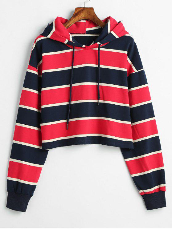 ZAFUL Stripe Crop Hoodie - Multicolor-A L