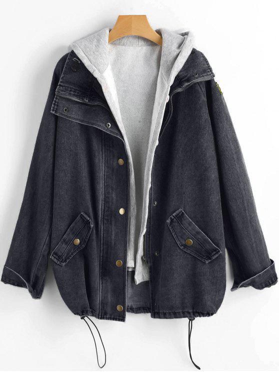 fancy Button Up Denim Jacket and Hooded Vest - BLACK XL