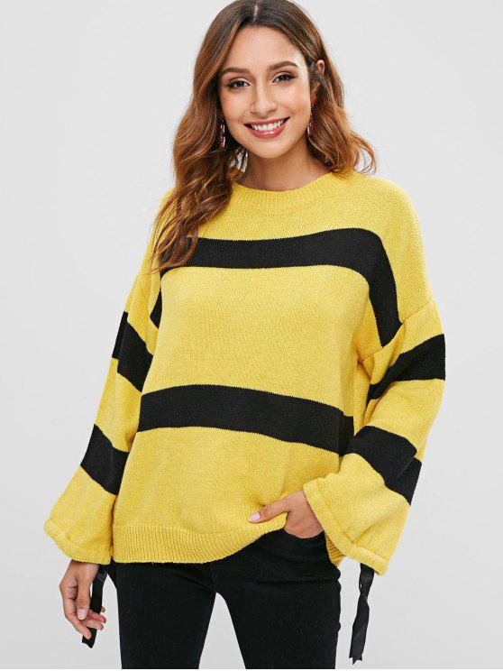 outfit Two Tone Loose Sweater - YELLOW ONE SIZE