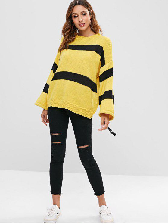 Two Tone Loose Sweater - Yellow   ZAFUL