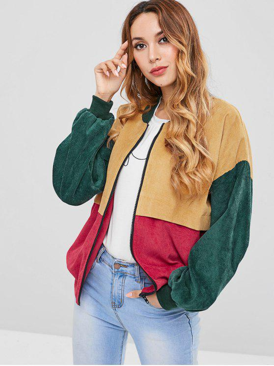 trendy ZAFUL Patchwork Corduroy Jacket - MULTI L