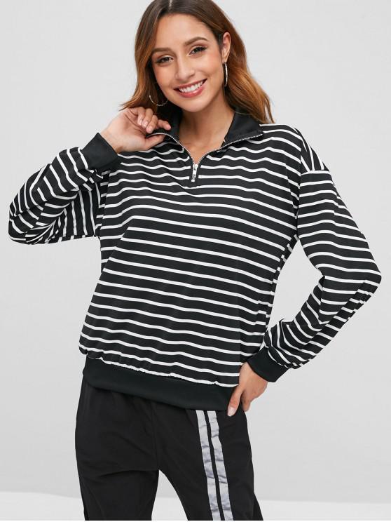 Sweat-shirt Rayé à Demi-zip - Noir 2XL
