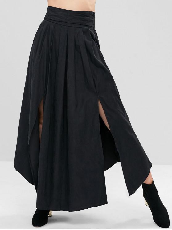 lady Slit Pleated-detail Maxi Skirt - BLACK M