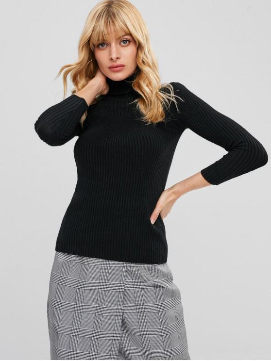 Eng anliegender Pullover mit hohem Kragen - Schwarz Eine Größe