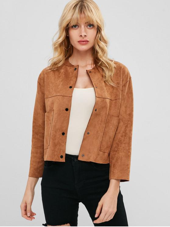 hot Faux Suede Snap Button Jacket - COFFEE XL