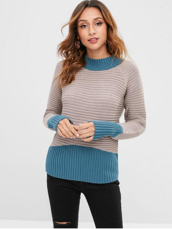 buy Ribbed Two Tone Color Block Sweater - ASH GRAY ONE SIZE