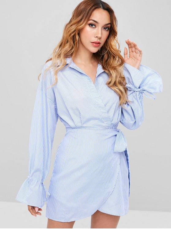 904ff307cc1 30% OFF  2019 Long Sleeve Surplice Striped Shirt Dress In BABY BLUE ...