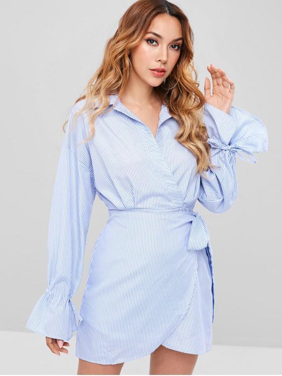 Robe chemise à manches longues à rayures surplis - Bleu Bébé M