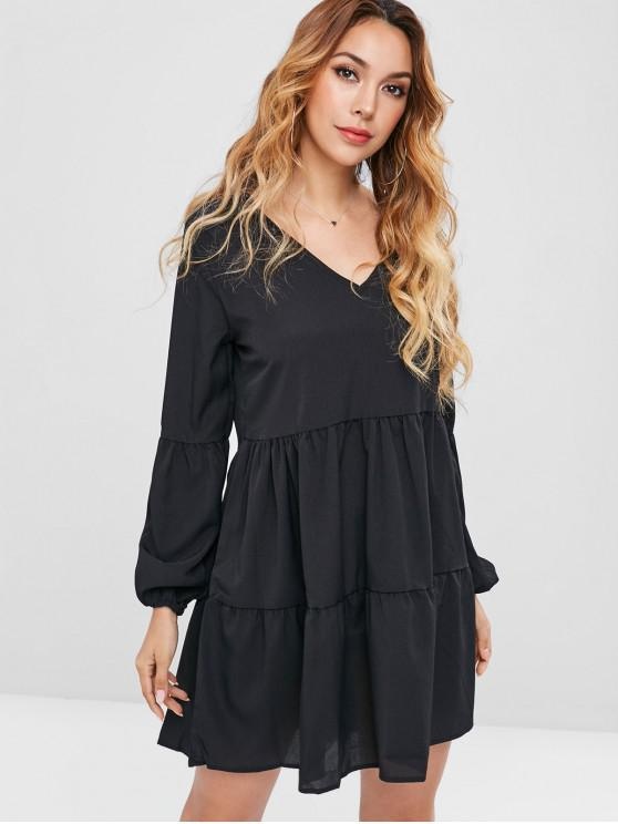 trendy Long Sleeve Tiered Smock Dress - BLACK L