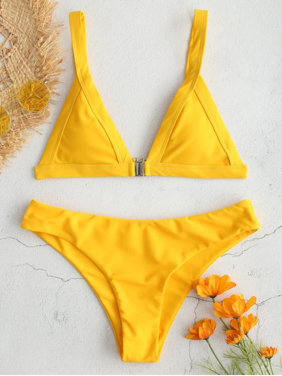 Bikini con Cierre de Zambullida Frontal ZAFUL - Caucho Ducky Amarillo M