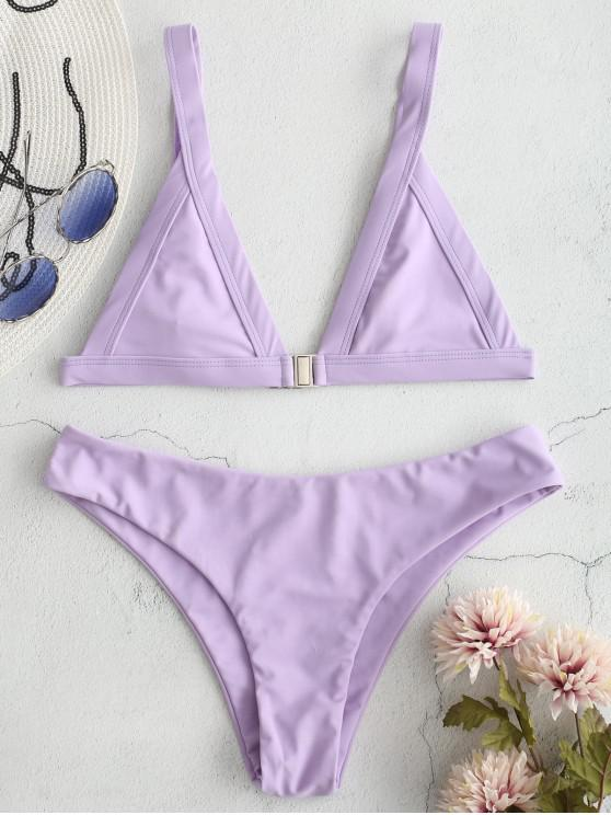 outfit ZAFUL Plunge Front Closure Bikini Set - WISTERIA PURPLE S