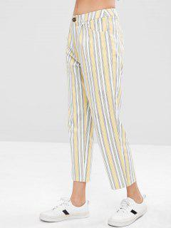 ZAFUL Gestreifte Pocket Zip Fly Hose - Multi M